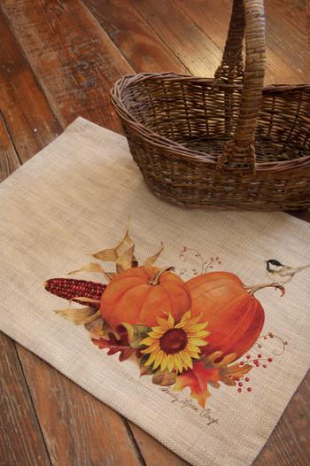 Harvest Pumpkin Burlap Autumn Placemats