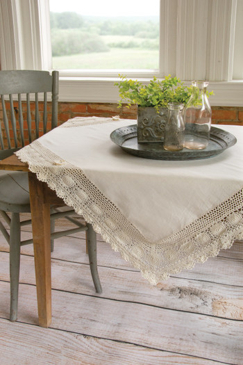 Blue Ribbon Cream Crochet Table Toppers