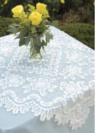 Off White Rose Square Table Topper