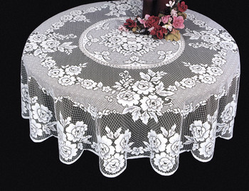 Exceptional Victorian Rose Round Lace Tablecloth