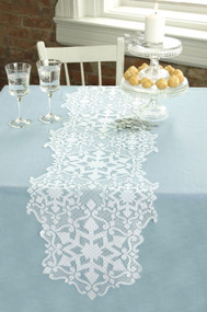 White Snowflakes Glisten Christmas Table Runners