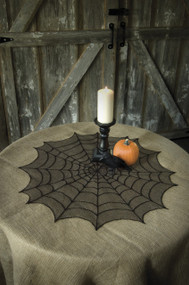 "30"" Spider Web Halloween Table Topper"