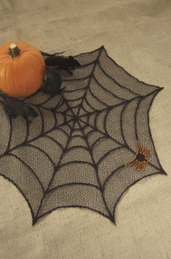 "Spider Web Table Topper 30"" with Applique"