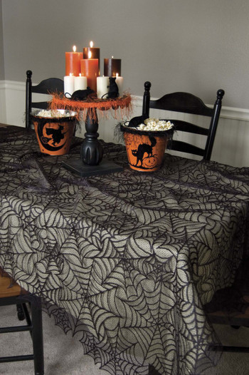 Spider Web Rectangle Halloween Tablecloth 60 X 90
