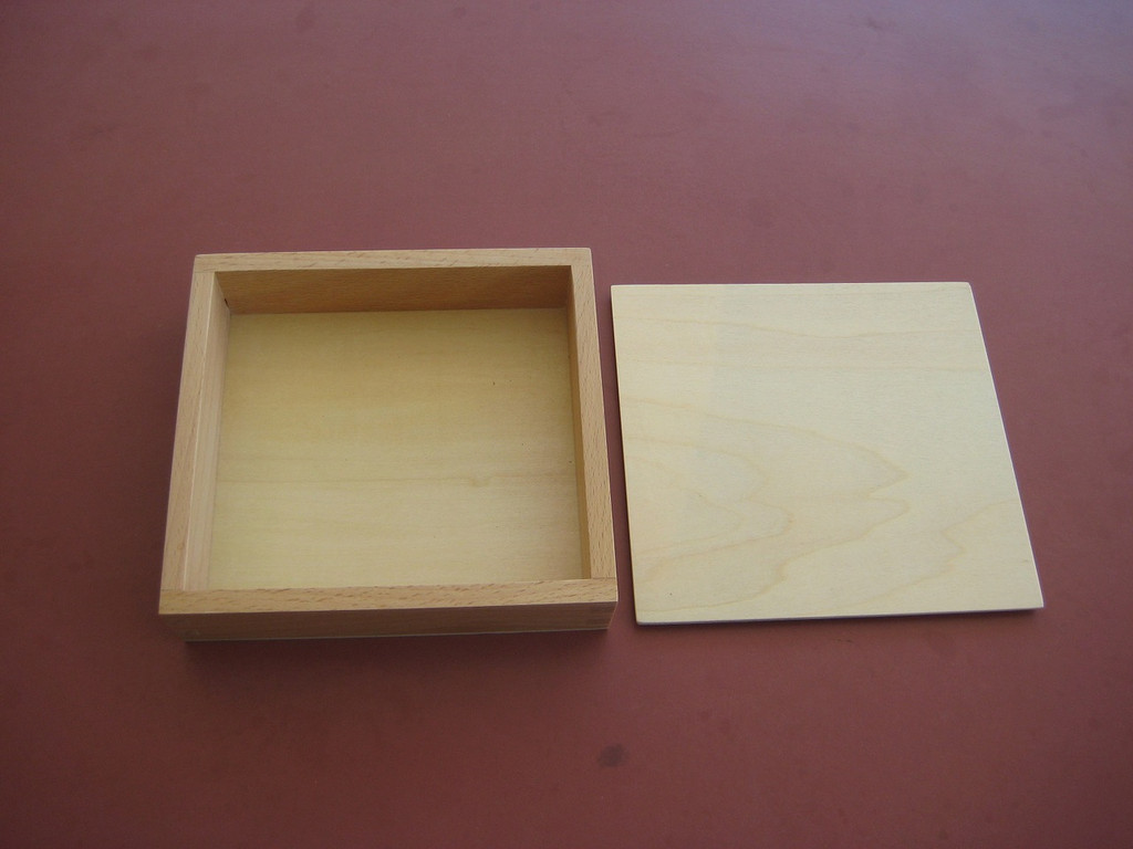 varnished wooden box with lid