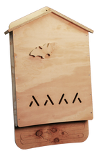 Front view of the 2 Chamber bat house, unpainted.