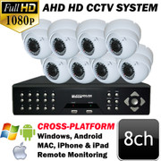 Unitek 8 channel AHD DVR 1080P IR Security Camera System