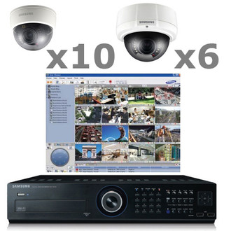 16ch Samsung Real-time DVR H.264 CCTV Dome Security Camera System