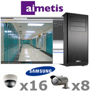 Aimetis Samsung AS3-IP-SYSTEM is a complete 24ch  Megapixel HD IP Security Camera System