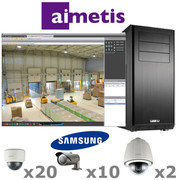 Aimetis Samsung AS4-IP-SYSTEM 32ch 3 Megapixel/1080P HD IP Security Camera System complete package.