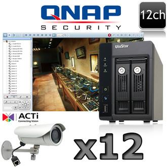 QNAP ACTI E43A 12ch IR Bullet 5 Megapixel IP Camera System