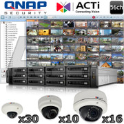 QNAP ACTi 56 channel 5 Megapixel IR Dome IP Security Camera System