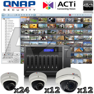 QNAP ACTi 48ch Megapixel IR Dome IP Security Camera System