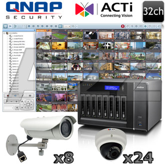 QNAP ACTi 32ch 3 Megapixel IR IP Security Camera System