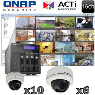 QNAP ACTI QA9 16ch 3 Megapixel IR Dome IP Security Camera System