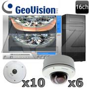 Geovision GV11 16ch Fisheye 360 - Vandal Dome IP Security Camera System