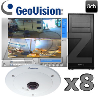 Geovision 8ch 4 MegaPixel 360 Fisheye IP Security Camera System GV9