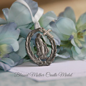 CJ-376  Mary Cradle Medal with Seed Pearl Delicate Cross