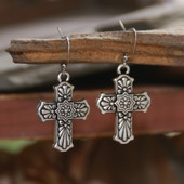 IN-66  Patterned Cross Earrings