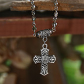 IN-548  Patterned Cross Beaded Necklace