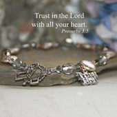 IN-183  Trust God Coin Pearls and Silvertones Bracelet