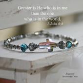IN-186  WOW Crystal Swarovski Cross Bracelet..Greater is He that is in Me... Go