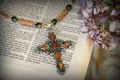 IN-496 Beaded Cross Necklace