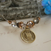 IN-551 Vintage Mary Medal stunning Necklace