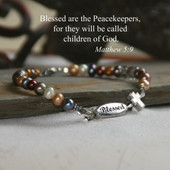 IN-555  Peacekeepers Bracelet--designed in reflection of our world in need of Prayer and Peace.  Let's be Peacekeepers.