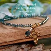 "IN-180  Simply Elegant ""Stretchy"" Cross Beaded Bracelet in Teal color tones."