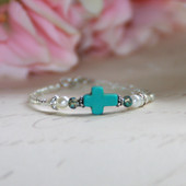 "CJ-520  Love this Turquoise Cross Splash of color for Baby 5"" Bracelet"