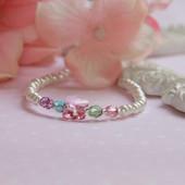 """CJ-523-5  Butterfly Fly Away Beautiful Colors Pearl Bracelet 6"""""""