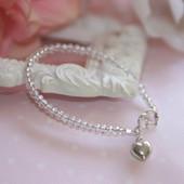 """STG-145HT Infant Crystal AB and Sterling Silver Heart  41/2"""" Bracelet"""