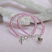 "STG-144CR  CROSS Infant 41/2"" Stunning Pink Crystal Sterling Silver Bracelet"