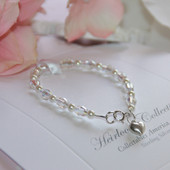 """STG-146HT  Crystals and Pearls 5"""" a Favorite Bracelet! Sterling Silver"""