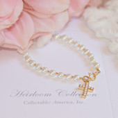 "CJ-327  Glass Pearls and Seed Beads with Cross Gold-tone 6"" Bracelet"