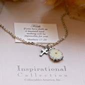 IN-400  Mustard Seed Rhodium Necklace with Cross