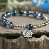 IN-193  Gorgeous Rosary Rich Blue Crystal Bracelete with Vintage Medal