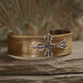 ART-156  Vintage Style Cross Cuff Bracelet