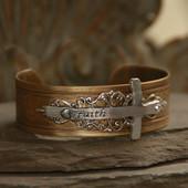 ART-160  Faith Cross Vintage Style Cuff Bracelet