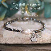 IN-197  You shall be a Crown of Beauty Freshwater Pearl Beaded Bracelet