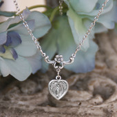 IN-557  Mary Heart Medal Necklace