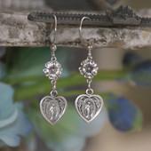 IN-73  Mary Heart Medal Dangle Earrings