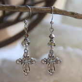 IN-708E Lacy Openwork Cross Earrings