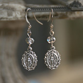 IN-74  Mary Medal Lacy Edge Earrings