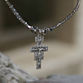 IN-637  San Damiano  Cross Beaded Necklace