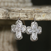 IN-72  Four Way Catholic Medal and Hammered Cross Dangle Earrings