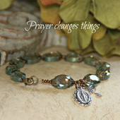 IN-190  Prayer Changes Things Rosary Bracelet with Mary Medal