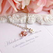 CJ-549  Sweet Pink Crystal Heart and Pearl drop Necklace
