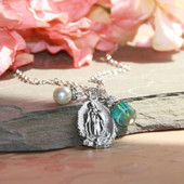 IN-597  Lady of Guadalupe Necklace with Teal Crystal and Pearl drops
